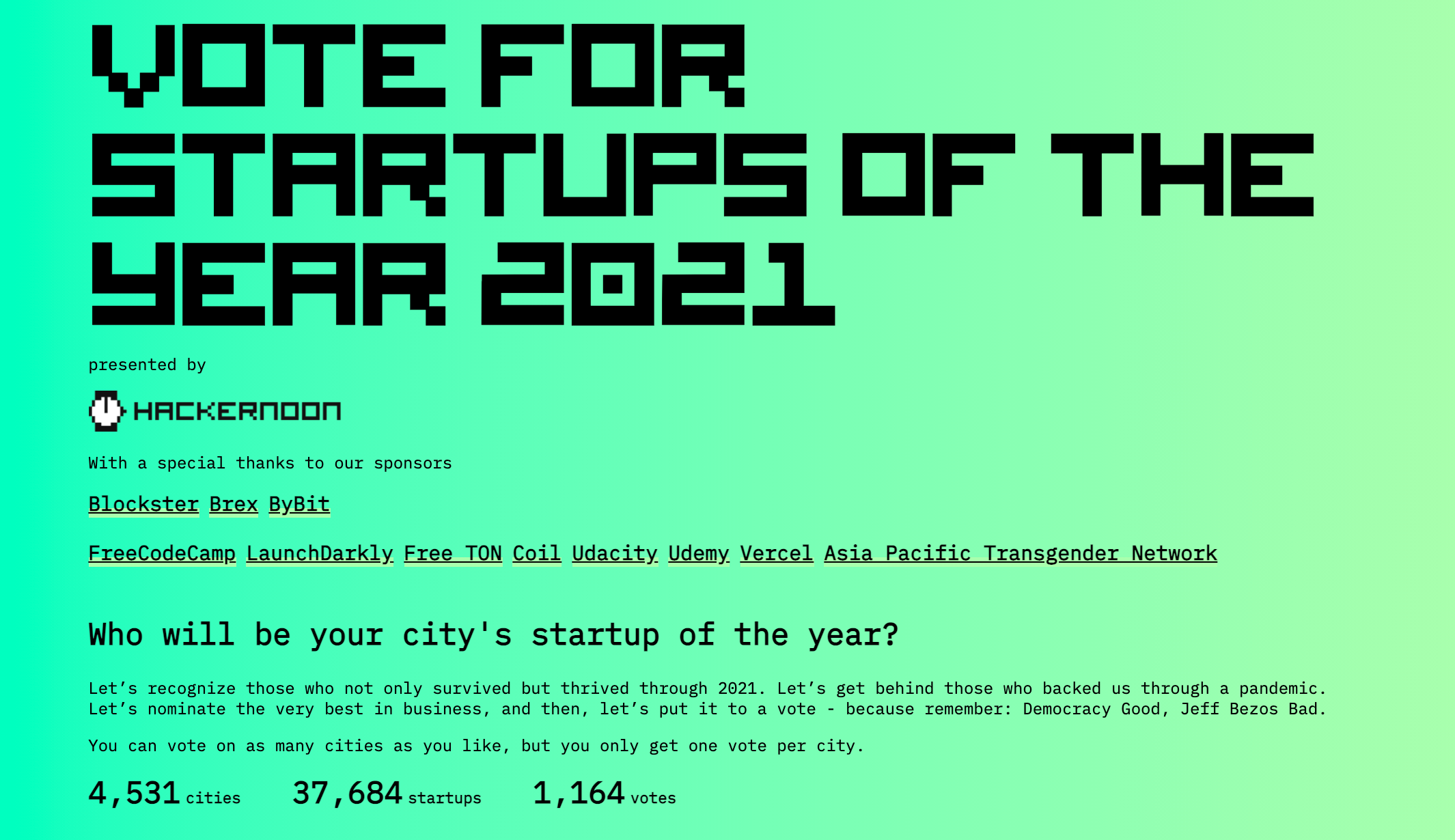 Hacker Noon Startups of the Year 2021
