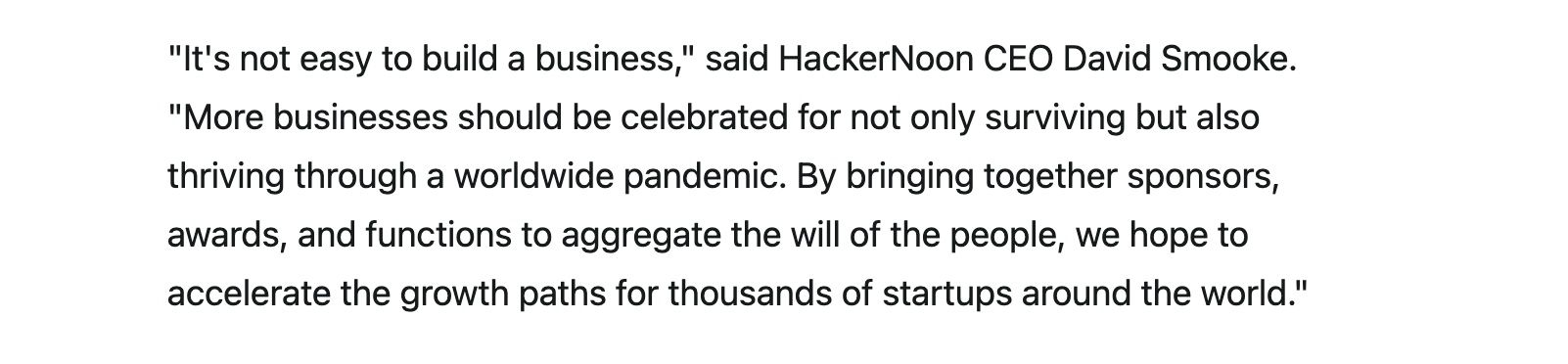 David Smooke on Startups of the Year