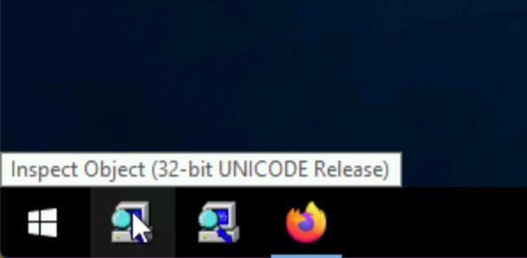 Screenshot of Inspect.exe pinned to the Windows taskbar.