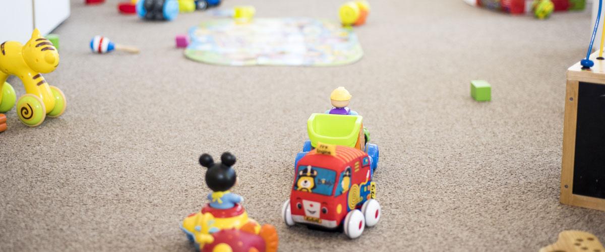 Toys on carpet.
