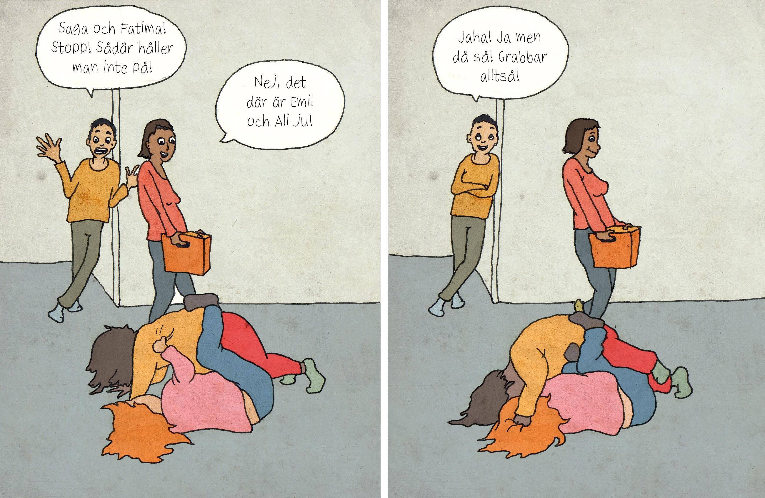 Illustration av Louise Winblad. Seriestrip om hur olika barn bemöts beroende på kön